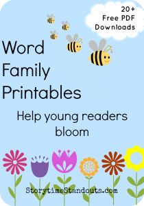 20+ Free Word Family printables from StorytimeStandouts.com including Word Family flip books  and Words with Pictures for short vowels #HS #Kindergarten #Reading