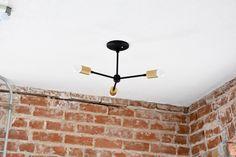 Matte Black and Gold Raw Brass Modern Chandelier 3 Arm Pinwheel Bulb Three Sputnik Mid Century Semi Flush Industrial Hanging Light UL Listed by IlluminateVintage on Etsy https://www.etsy.com/listing/387017898/matte-black-and-gold-raw-brass-modern