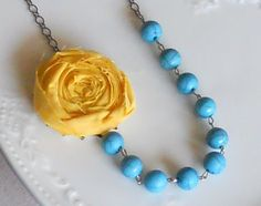 Yellow Rosette Necklace with Turquoise beads by AdornmentsbyWendi, $20.00