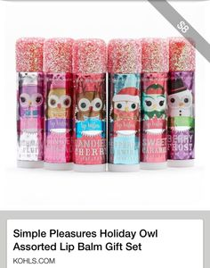 Simple Pleasures gift sets at Kohl's - Shop our full line of cosmetics and beauty products, including this Simple Pleasures Holiday Owl Assorted Lip Balm Gift Set, at Kohl's. Perfect for holiday gift giving. Kickin It Old School, Chapstick Lip Balm, Nice Lips, Frozen Elsa And Anna, Bulk Candy, Diy Hair Accessories, Lip Gloss, The Balm, Lip Balms