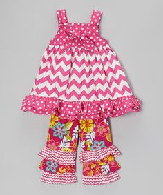 This Pink Zigzag Tunic & Floral Ruffle Pants - Infant, Toddler & Girls by Sew Childish is perfect! #zulilyfinds