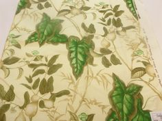 Toile Fabric Bailey & Griffin Exclusive Fabric 200013H Puccini Linen Cotton  Color Custard / Emerald, Bamboo / Surf + FREE SAMPLES!!!