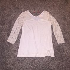 Cream Lace shirt Cream lace shirt. Size Large. Lace sleeves and a v neck front and back. Super cute for casual or for dressy!! Self esteem brand. Looks brand new. The bottom flows a little. Self Esteem Tops Blouses