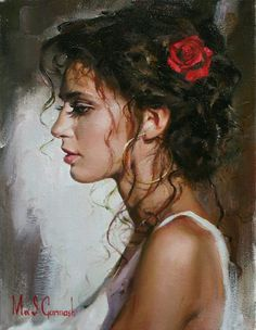 Artists: Michael and Inessa Garmash {contemporary figurative artists beautiful female head red rose woman face profile portrait painting}