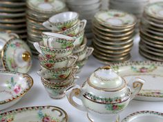 Rare 91-Piece Mini Occupied Japan Porcelain Tea / Dining Dish Set for 12 - Exquisite & Enchanted 1:6 Doll Scale