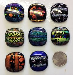 Handcrafted DICHROIC Fused Glass PENDANT/CABOCHONS Accent Tiles