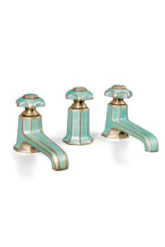 fabulous Art Deco enameled bath taps - - Marked 'sterling silver - silver mounted', pale green guilloche enamel together with a central tap enabling plug release, losses to enamel enamel, sterling silver - Mark Birley, The Private Collection - Sotheby's Interiores Art Deco, Art Nouveau Arquitectura, Houses Architecture, Art Deco Bathroom, 1920s Bathroom, Art Deco Kitchen, Moroccan Bathroom, Bathroom Bath, Master Bathroom