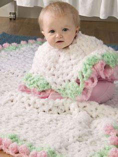 Crochet Accessories - Crochet Poncho Patterns - Ring-Around-Rosie Crochet Afghan & Ponchette Free Pattern