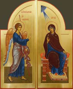 Annunciation by Alexandr Stalnov Religious Pictures, Religious Icons, Religious Art, Byzantine Icons, Byzantine Art, Greek Icons, Roman Church, Creativity Exercises, Life Of Christ