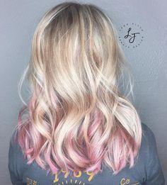 Pastel pink highlights in blonde hair | Hair | Pinterest | Hair ...