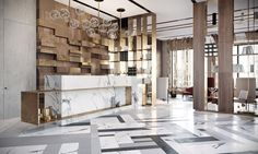 Bright modern lobby in Moscow with brass and special lamps