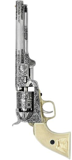 Colt 1851 Navy Caliber Black Powder, Cap n' Ball Percussion Revolver. Heavily Engraved with I believe Ivory Grips! It's simply immaculate, must be a repro! Weapons Guns, Guns And Ammo, Rifles, Gun Art, Custom Guns, Cool Guns, Le Far West, Panzer, Shotgun