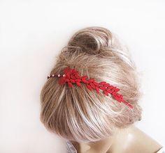 Red Lace Flower girl Tiara Headband Wedding Tiara by ADbrdal, $17.00