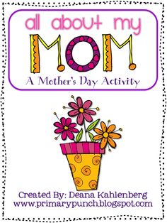 This cute activity is fun to complete for Mother's Day. Have your students fill out the All About My Mom questionnaire and see their cute answers! Mother's Day Activities, Holiday Activities, Holiday Crafts, Holiday Fun, Mothers Day Crafts, Happy Mothers Day, Mother Day Gifts, Fathers Day, Preschool Crafts