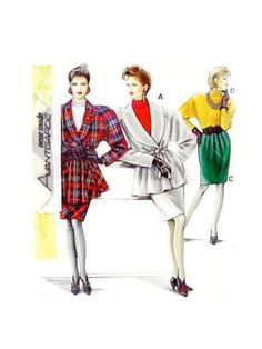 Neue Mode 20878 Tiered High Collar Blouse, Straight Skirt and Long Wrap Jacket, Factory Folded & Sealed Sewing Pattern Multi Size High Collar Blouse, Straight Skirt, Belt Tying, 1980s, Retro Vintage, Sewing Patterns, Skirts, Jackets, Fashion