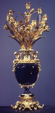 Sèvres porcelain and gilt bronze vase, c1860.