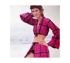 Vintage Crochet Pattern Granny Square Crop Top Wrap Skirt Bikini Cover Up 1970s Digital Download PDF