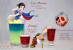 Disney Princess Cocktails Snow White's Fair Maiden: Blue Curacao Pineapple Juice Grumpy: Orange Vodka Grenadine Cream Evil to the Core: Jagermeister Apple Vodka Apple Pucker Cranberry Juice Disney Cocktails, Cocktail Disney, White Cocktails, Cocktail Drinks, Cocktail Recipes, Disney Themed Drinks, Disney Alcoholic Drinks, Disney Mixed Drinks, Apple Cocktails