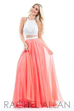 Chiffon two piece gown with a beaded halter top Perfect for prom, homecoming, formal or social occasions! Click here for the Rachel Allan sizing chart! *Note: Lead times will vary. All dresses are special ordered from the designer at the time of purchase.