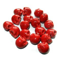 Red Porcelain Sugar Skull Beads 18 Beads by CloudNineSupplyShop, $6.30