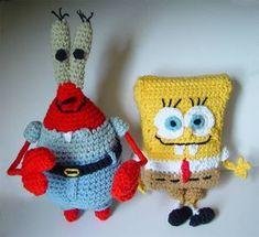 crochet Spongebob and Mr Krabs by meekssandygirl.deviantart.com on @deviantART
