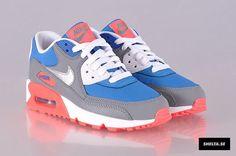 Nike Air Max 90 WoMen Blue White Red hot sale 193-bethe shop