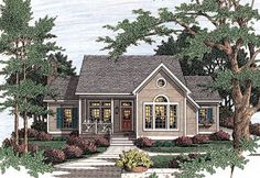 Country Style House Plans - 2053 Square Foot Home, 1 Story, 3 Bedroom and 2 3 Bath, 2 Garage Stalls by Monster House Plans - Plan Luxury House Plans, Dream House Plans, Small House Plans, House Floor Plans, Porches, Cambridge House, House Plans 3 Bedroom, Monster House Plans, Country Style House Plans