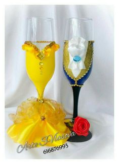 Beautiful glasses of beauty and beast for wedding of this theme. : Beautiful glasses of beauty and beast for wedding of this theme. Beauty And The Beast Wedding Cake, Beauty And Beast Birthday, Beauty And The Beast Theme, Beauty And The Best, Wedding Beauty, Beauty Beast, Wedding Cups, Wedding Glasses, Champagne Glasses