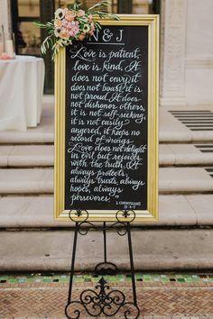 Elegant chalkboard calligraphy wedding sign: Photography: Milou + Olin  - www.milouandolin.com/