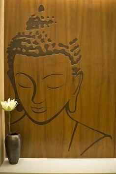 51 Ideas for wall art stickers living room paint Buddha Wall Art, Buddha Painting, Mural Art, Wall Murals, Wall Stencil Patterns, Stencil Wall Art, Pooja Room Design, Wall Wallpaper, Wall Design