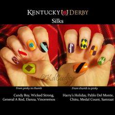 Kentucky Derby horse silks nail art