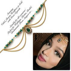 Green head wear , indian hair jewelry , gold headpiece , arabic hijab jewels , chain hair accessories , matha patti , Indian bridal jhoomer by FatimaAccessories on Etsy