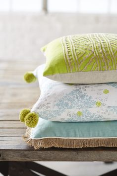 Lacefield Mineral Pillow Collection 2015 #pompoms #details #pillows #southernmade www.lacefielddesigns.com