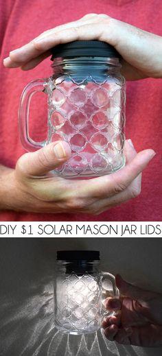 #DIY $1 solar #masonjar lids http://www.dreamalittlebigger.com/post/solar-mason-jar-lids.html #crafts