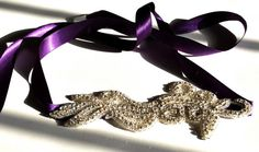 SomethingColorful Rhinestone Headband with Purple Ribbon for weddings, prom, bridesmaids, any special occasion  $40.00