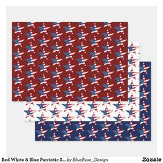 Red White & Blue Patriotic Stars Wrapping Paper Sheets