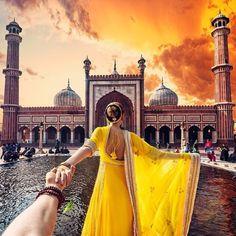 Jama Masjid, New Delhi  Girl Who Leads Photographer-Boyfriend Around The World Visits India. The Photos Are Spellbinding