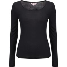 Phase Eight Scoop Neck T-Shirt , Black found on Polyvore featuring tops, t-shirts, black, black long sleeve top, open cardigan, long sleeve scoop neck tee, layering tees and black long sleeve tee