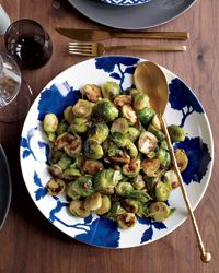 "Spicy and Garlicky Brussels Sprouts.  The staff at Myers + Chang restaurant call these sprouts ""green candy"" because they get so sweet as they brown in the skillet.  -Food & Wine"