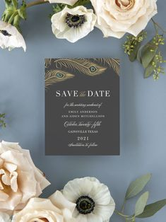 Peacock Feather Wedding Save the Date Cards Foil Save The Dates, Unique Save The Dates, Save The Date Cards, Luxury Wedding Invitations, Elegant Invitations, Wedding Stationary, Engagement Ideas, Wedding Engagement, Free Wedding
