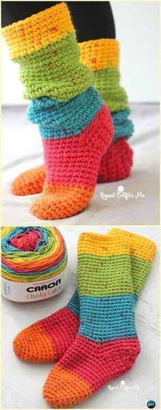 20 High Knee Crochet Slipper Boots Patterns to Keep Your Feet Cozy Crochet Caron Cakes Chunky Slouchy Sock Slippers Free Pattern- Crochet High Knee Crochet… Crochet Slipper Boots, Crochet Slippers, Slipper Socks, Elf Slippers, Felted Slippers, Loom Knitting, Knitting Patterns, Crochet Patterns, Afghan Patterns