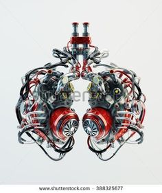 Artificial robotic lungs. Futuristic replacement parts