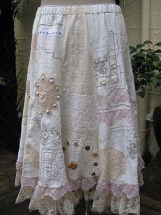 upcycled skirt from vintage white linens