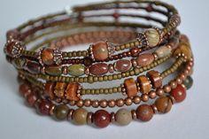 Southwestern Memory Wire Bracelet Wrap Bracelet by IvysPebbles