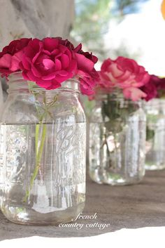 FRENCH COUNTRY COTTAGE: Simple Charm from Courtney.  Bonjour. Take a jar of roses home with you as my gift. Ann