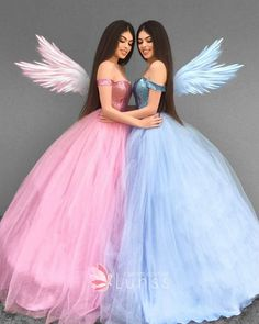 Pink or Blue . ✨ Feeling like a Princess in our beautiful dresses from ✨Tag your Princess 👯✨Kızlar özel dikim… Tulle Ball Gown, Ball Gowns Prom, Ball Dresses, 15 Dresses, Fashion Dresses, Girls Dresses, Pink Ball Gowns, Blue Gown, Party Gowns