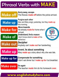 Phrasal Verbs with MAKE in English writing, Learn English Grammar, English Vocabulary Words, Learn English Words, English Phrases, Grammar And Vocabulary, English Idioms, English Language Learning, English Study, English Lessons