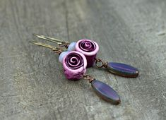 Plum Rose Earrings b