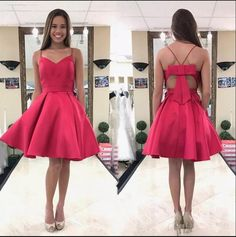 Cute A-line Short Hot Pink Homecoming Dress with Bow