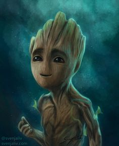 """svenjaliv: """" I just saw the new trailer for Guardians of the Galaxy 2 so here's a quick painting of Baby Groot! art 